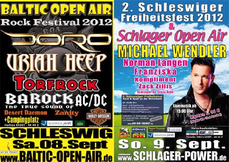 Countdown zum Baltic-Open-Air und zum Schlager Open Air 2012 in Schleswig läuft