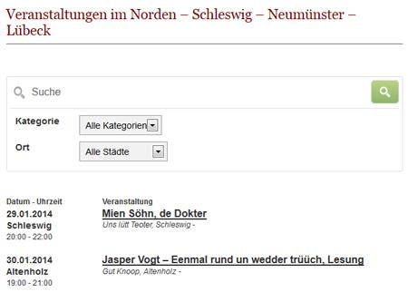 Der neue Veranstaltungskalender für Schleswig, Neumünster, Lübeck, Heide und mehr…
