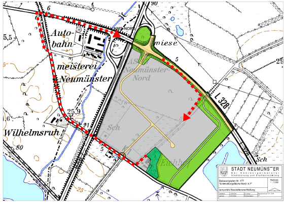 Entwicklungsfläche Nord/A 7: Verkehrsführung des Bauverkehrs in Neumünster