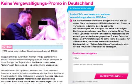 Julien Blanc – Wenn 150.000 unterzeichnen, können wir sie dazu bringen, die Vergewaltigungs-Workshops abzublasen