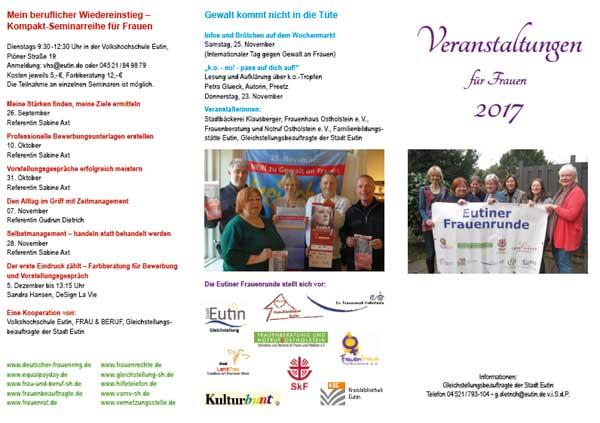 Veranstaltungsprogramm für Frauen aus Eutin