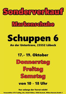 Markenschuhverkauf: 17.-19.10.2019 im Schuppen 6, An der Untertrave 47a, in 23552 Lübeck