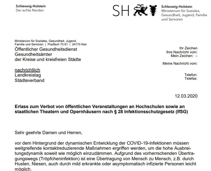Schleswig-Holstein: Erlass zum Verbot von öffentlichen Veranstaltungen an Hochschulen sowie an staatlichen Theatern und Opernhäusern