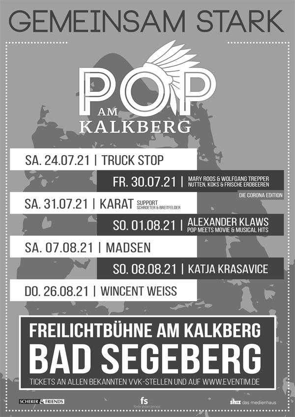"""Konzertreihe """"Gemeinsam stark"""" – Pop am Kalkberg in Bad Segeberg 2021"""